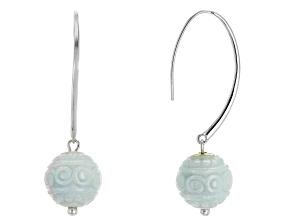 Green Jadeite Bead Sterling Silver Earrings