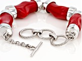 Red Coral Rhodium Over Silver Bracelet