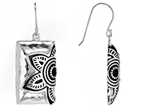 Rhodium Over Sterling Silver Floral Earrings