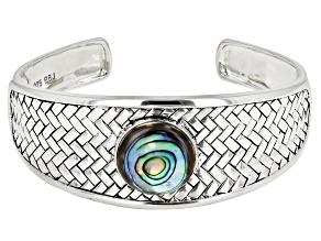 Multicolor Abalone Shell Silver Cuff Bracelet