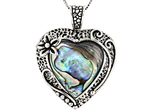 Multicolor Abalone Shell Silver Pendant With Chain