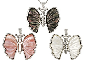 Black, Pink, And White Mother Of Pearl Interchangeable Pendant With Chain Set