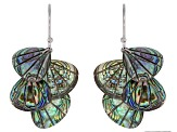 Multicolor Abalone Shell Rhodium Over Silver Earrings