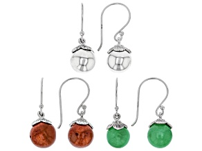 Green Jadeite Rhodium Over Silver Earring Set