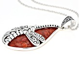 Red Coral Rhodium Over Silver Pendant With Chain