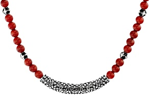 Red Coral Rhodium Over Silver Necklace