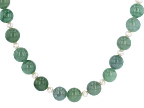 Green Jadeite Rhodium Over Silver Necklace