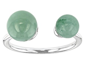 Green Jadeite Rhodium Over Silver Ring