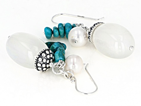 White Chalcedony Rhodium Over Silver Earrings