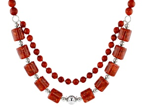 Red Coral Rhodium Over Silver 2-Strand Necklace