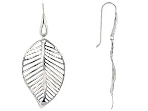 Rhodium Over Sterling Silver Leaf Earrings