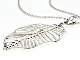 Rhodium Over Sterling Silver Leaf Pendant With Chain