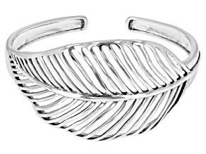 Rhodium Over Sterling Silver Leaf Cuff Bracelet