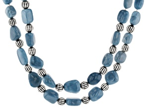 Blue Opal Silver Bead Necklace