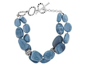 Blue Opal Silver Bead Bracelet