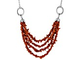 Red Coral Chip Rhodium Over Silver Necklace