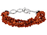 Red Coral Chip Rhodium Over Silver Bracelet