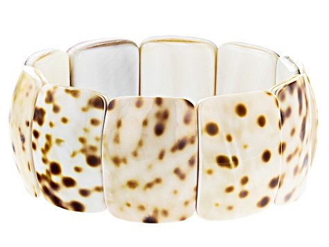 Brown and White Shell Stretch Bracelet