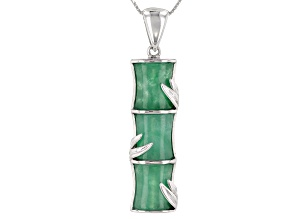 Green Jadeite Bamboo Inspired Rhodium Over Silver Pendant with Chain