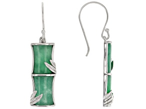 Green Jadeite Bamboo Inspired Rhodium Over Sterling Silver Earrings