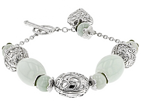 Green Jadeite Rhodium Over Silver Bracelet