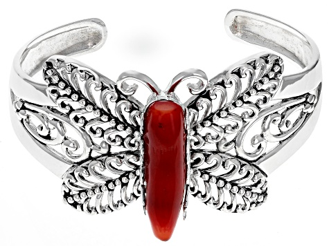 Red Coral Rhodium Over Silver Butterfly Cuff