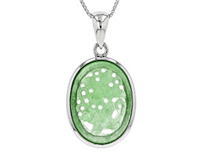 Green Jadeite Rhodium Over Sterling Silver Pendant With Chain