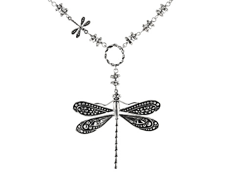 Dragonfly Rhodium Over Sterling Silver Necklace