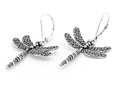 Dragonfly Rhodium Over Sterling Silver Dangle Earrings