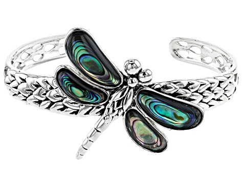 Multicolor Abalone Shell Rhodium Over Silver Dragonfly Bracelet