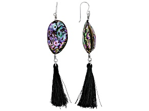 Abalone Shell Rhodium Over Silver Tassel Earrings
