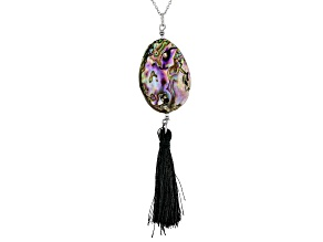 Abalone Shell Rhodium Over Silver Tassel Pendant with Chain