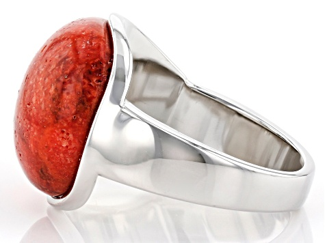 Red Sponge Coral Rhodium Over Sterling Silver  Ring