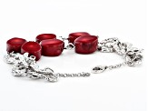 Red Sponge Coral Rhodium Over Silver Bracelet