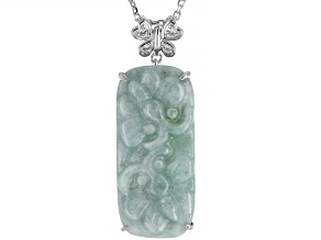 Green Jadeite Rhodium Over Silver Slide With Chain .11ctw