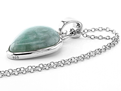 Jadeite Solitaire Rhodium Over Silver Enhancer With Chain