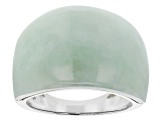 Green Jadeite Solitaire Rhodium Over Silver Dome Ring
