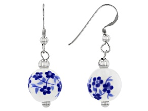 Ceramic Painted Bead Rhodium Over Silver Earrings