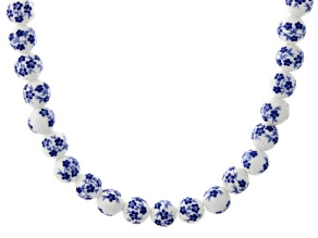 Ceramic Painted Bead Rhodium Over Silver Necklace