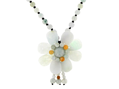 Jadeite Flower Adjustable Necklace