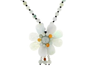 Jadeite Center Design Flower Adjustable Necklace