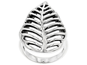 Rhodium Over Sterling Silver Leaf Ring