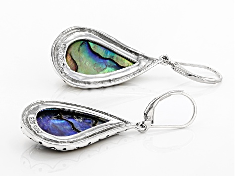 Multi-color Abalone Shell Rhodium Over Sterling Silver Earrings