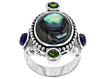 Picture of Multi-color Abalone Shell Rhodium Over Silver Feather Ring .58ctw