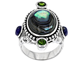 Multi-color Abalone Shell Rhodium Over Silver Feather Ring .58ctw