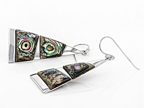 Abalone Shell Rhodium Over Sterling Silver Earrings