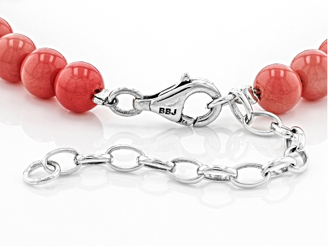 Pink Coral Bead Rhodium Over Silver Bracelet