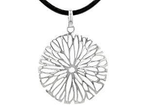 Rhodium Over Silver Flower Design Imitation Leather Cord Necklace