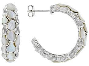 Mother-Of-Pearl Inlay Rhodium Over Silver J-Hoop Earrings