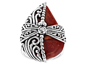 Red Sponge Coral Rhodium Over Silver Ring